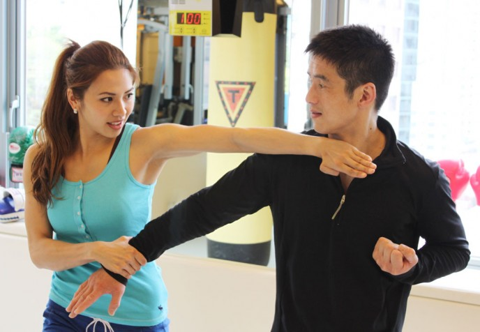 Kevin Chan trains with Lisa Cheng